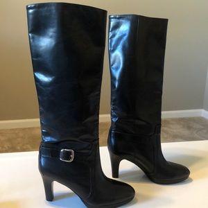 Alex Marie Black Leather Platform Heeled Boots